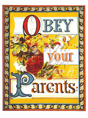 Obey Your Parents Postcard