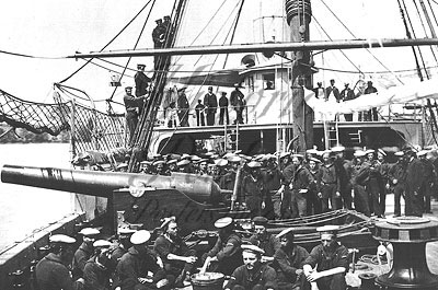 Civil War crew assembly on Federal riverboat Mendota