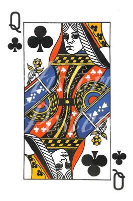 Queen of Clubs Postcard