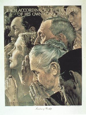 """Norman Rockwell - """"Freedom of Worship"""""""